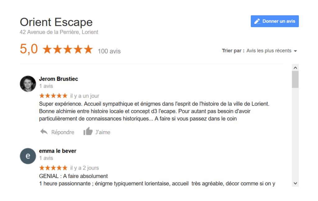 100 avis sur Google … 5 étoiles ! Merci !
